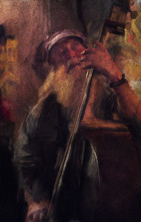 "Jazz Apassionata.<br /> Bassplayer Hugo Rasmussen at ""Cafe Svejk"", Copenhagen,Denmark.<br /> Photo painted with digital smeary oil brush in Corel Painter + texture layers."