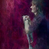At Hold.<br /> Trumpet: Maj Berit Guassora at Jazz Cup, Copenhagen, Denmark.<br /> Photo painted with digital impressionistic chalk brush in Corel Paint + texture layers.