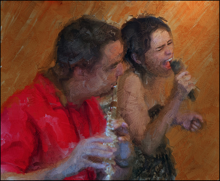 """Tense. Poul Erik Louw; flute and Camilla Simplicio: vocal of <a href=""""http://www.jazzabrasil.dk/""""target=""""_blank"""">Jazzabrasil</a> at  <a href=""""http://bartofcafe.dk/""""target=""""_blank"""">Bartof</a> Cafe during the 2011 Copenhagen Jazz Festival. Photo painted with digital sargent brush in Corel Painter + texture layers."""