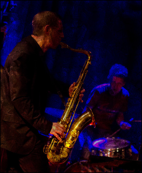 """Suspended Sax. Jan Harbeck: sax and Andreas Fryland: drums at <a href=""""http://www.paradisejazz.dk/""""target=""""_blank"""">Paradise Jazz</a>, Huset, Copenhagen. Photo with texture layers."""