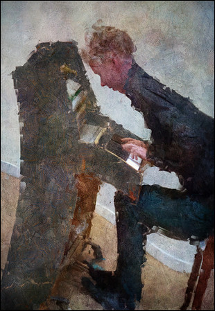 Working the Piano.<br /> Simon Toldam: piano at Osram Huset, Copenhagen.<br /> Distorted photo painted with digital impressionist impasto brush in Corel Painter + texture layers.
