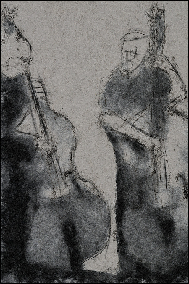 Bass Brothers.<br /> Jesper Lundgaard and Mads Vinding: bass at a Unicorn concert i Jazzhouse, Copenhagen.<br /> Photo painted with digital chalk and pen in PostworkShop + texture layers.