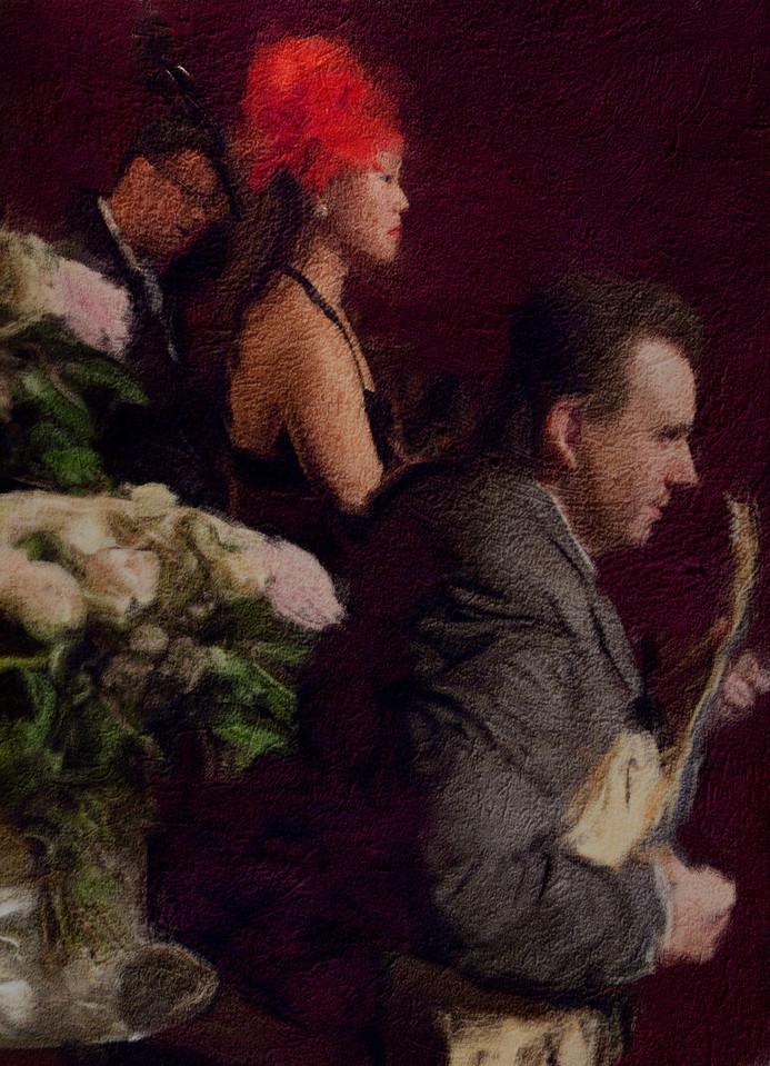 Jazz Bouquet.<br /> Henrik Bay: guitar - Birgitte Sojin: vocal - Niels Guffi Pallesen: bass at Cafe Intime,Copenhagen.<br /> Photo painted with digital smeary oil brush in Corel Painter + texture layers.