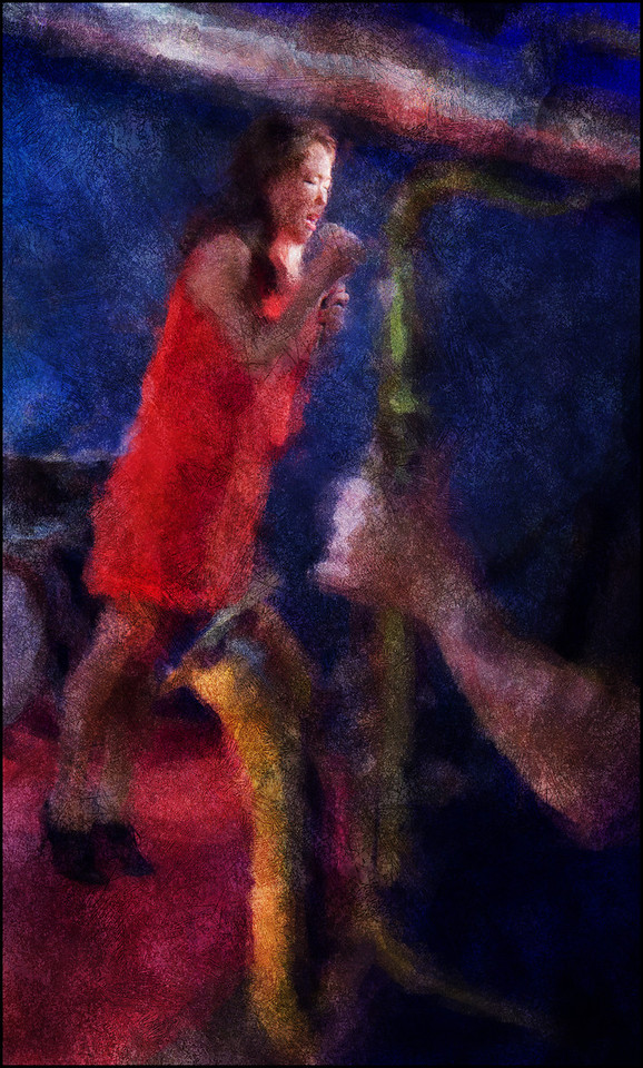 """Out of the Sax. <a href=""""http://birgittesoojin.com/""""target=""""_blank"""">Birgitte Soojin</a>, vocal + arm and sax of Jacob Dinesen at <a href=""""http://www.paradisejazz.dk/""""target=""""_blank"""">Paradise Jazz</a>, Huset, Copenhagen. Photo painted with impressionist digital chalk brush in Corel Painter + texture layers."""
