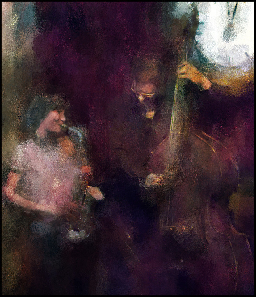 Blowing the Bass of the Stage.<br /> Christina von Bülow, sax and Jens Skou, bass at Cafe Bartof, Copenhagen.<br /> Photo painted with digital impressionist chalk brush in Corel Painter + texture layers.