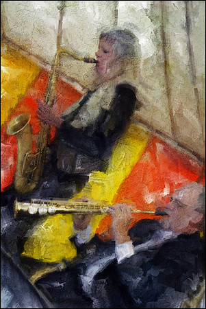 """Right Angle. Christina Dahl: sax and  Jens Søndergård: soprano sax of <a href=""""http://www.bigapplebigband.dk/""""target=""""_blank"""">Big Apple Big Band</a>, Copenhagen. Concert arranged in a big tent by <a href=""""http://gottfried.dk/""""target=""""_blank"""">i. k. Gottfried</a> wind instruments. Photo painted with digital sargent brush in Corel Painter + texture layers."""