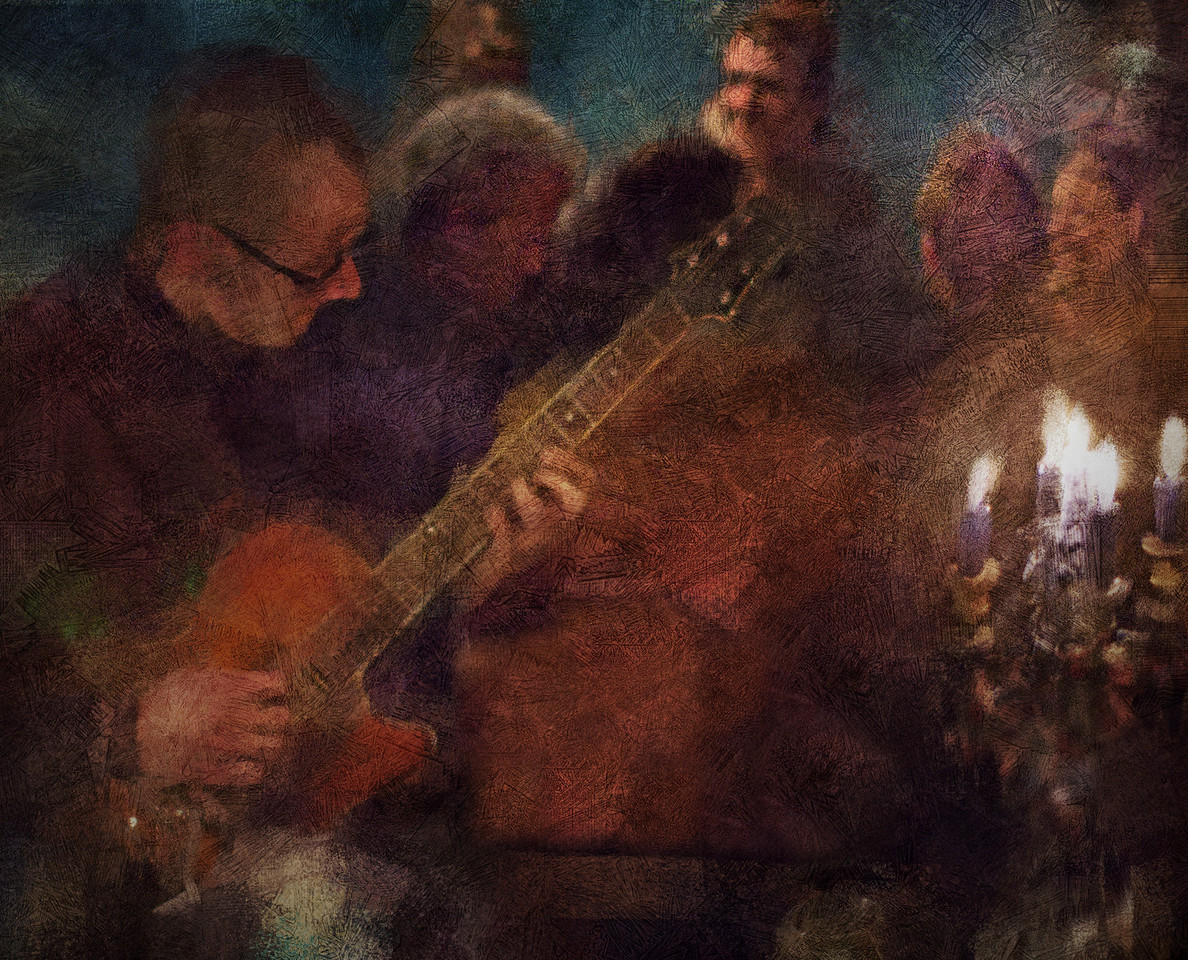 "Camp Fire.<br /> Tao Højgaard: guitar at ""Kind of Blue Bar"", Copenhagen.<br /> Photo painted with digital impressionist chalk brush in Corel Painter + texture layers."