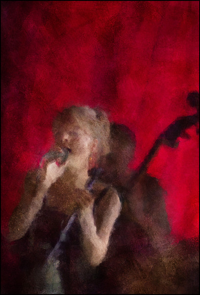 In Red.<br /> Mette Juul at JazzCup, Copenhagen.<br /> Photo painted with digital impressionist chalk brush in Corel Painter + texture layers.