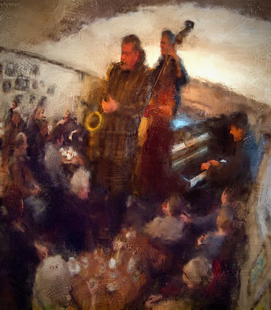 """Big Band.<br /> Tomas Franck: sax, Ben Besiakov: piano and Lennart Ginman: bass at """"Sofiekælderen"""", Copenhagen.<br /> Photo painted with digital chalk brush in Corel Painter + texture layers."""