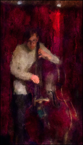 Bass Doctor.<br /> Tobias Dall Mikkelsen: bass of Reaktor at Montmatre, Copenhagen.<br /> Photo painted with digital impressionist chalk brush in Corel Painter + texture layers.
