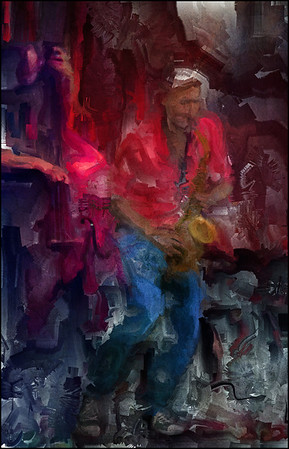 Sax Jeans.<br /> Maciek Kadziela: sax at Husets Teater during the Copenhagen 2012 Jazz Festival.<br /> Photo painted with digital sargent brush in Corel Painter + texture layers.