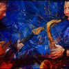 Tearing the Blues Apart.<br /> Christian Frank: guitar and Deniss Pashkevitch: sax at Kind of Blue bar, Copenhagen.<br /> Photo painted with digital pencil in Dynamic Auto Painter.