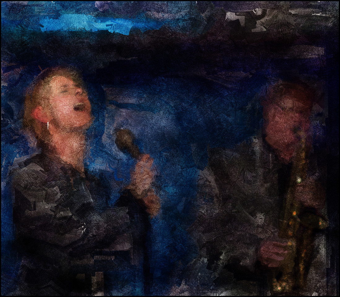 Blue Call.<br /> Cathrine Legardh: vocal and Sigurður Flosason: sax at Paradise Jazz, Huset, Copenhagen.<br /> Photo painted with digital sargent brush in Corel Painter + texture layers.