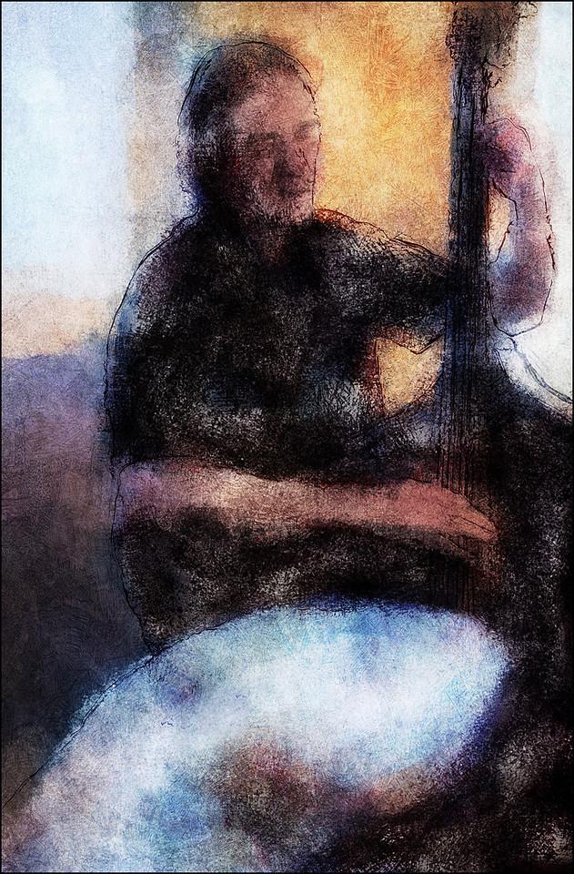 Bass Patches.<br /> Peter Danstrup: bass at Sofiekælderen, Christianshavn, Copenhagen.<br /> Photo painted with digital chalk brush in Corel Painter layered with digital pen sketch made in PostworkShop + texture layers.
