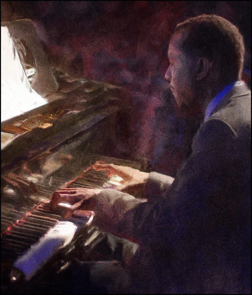 Out of the Dark.<br /> Danny Grisset: piano of the Anne Mette Iversen Quartet at Paradise Jazz Club, Copenhagen.<br /> Photo painted with digital smeary oil brush in Corel Painter + texture layers.