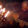 "Burning Guitar.<br /> Tao Højgaard: guitar at ""Kind of Blue Bar"", Copenhagen<br /> Photo painted with digital sargent brush in Corel Painter + texture layers."