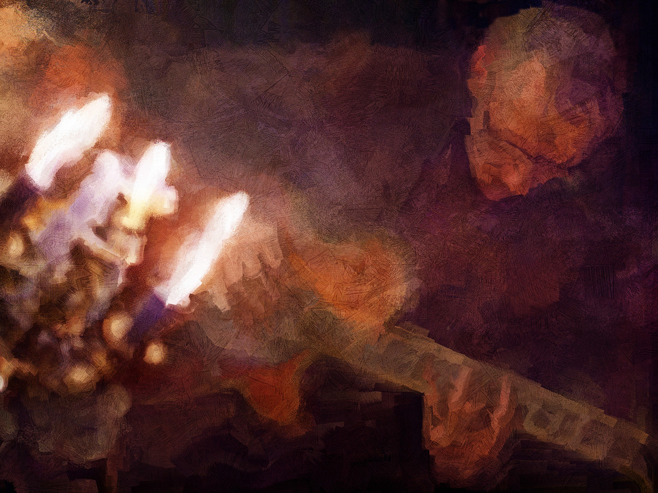 """Burning Guitar.<br /> Tao Højgaard: guitar at """"Kind of Blue Bar"""", Copenhagen<br /> Photo painted with digital sargent brush in Corel Painter + texture layers."""