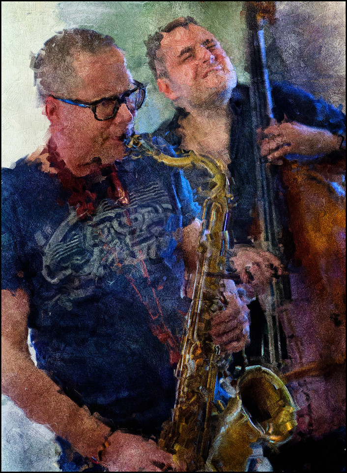 Close Up.<br /> Hans Ulrik: sax and Thomas Fonnesbæk: bass at Dansk Arkitektur Center, Copenhagen.<br /> Photo painted with digital impressionist impasto brush in Corel Painter + texture layers.
