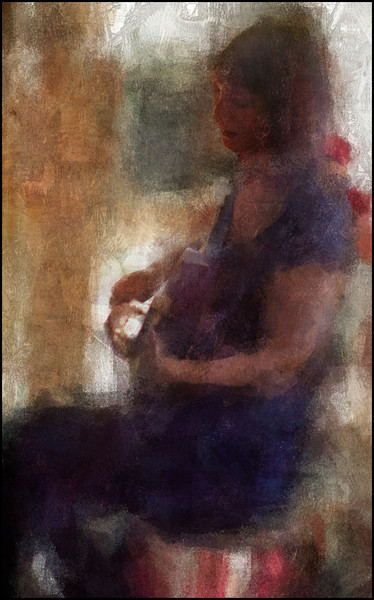 Chanteuse.<br /> Una Skott of Claire de Lune at Mokariet, Copenhagen.<br /> Photo painted with digital impressionist chalk brush in Corel Painter + texture layers.