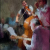 Fiddler´s Corner.<br /> Bjarke Falgren: Violin, Thomas Fonnesbæk: bass and Hemrik Bay: guitar at JazzCup during the Copenhagen 2012 Jazz Festival.<br /> Photo painted with digital impressionist chalk brush in Corel Painter + texture layer..