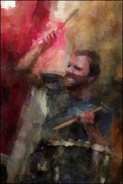 "Grunge Beat. Morten Ærø, drum at <a href=""http://bartofcafe.dk/""target=""_blank"">Bartof</a> Cafe , Copenhagen. Photo painted with digital impressionist sargent brush in Corel Painter + texture layers."