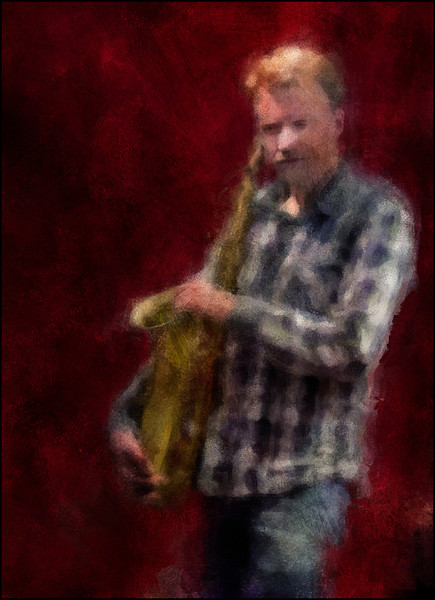 "Resting His Case. Fredrik Lundin: sax at <a href=""http://www.jazzklubben.dk/jazzcup.asp""target=""_blank"">Jazz Cup</a>, Copenhagen. Photo painted with impressionist digital chalk brush in Corel Painter."