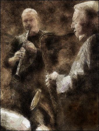 Dark Matter.<br /> Nico Gori: clarinet and Scot Hamilton: sax at JazzCup, Copenhagen.<br /> Photo painted with digital pen brush in Dynamic Auto Painter + texture layer.