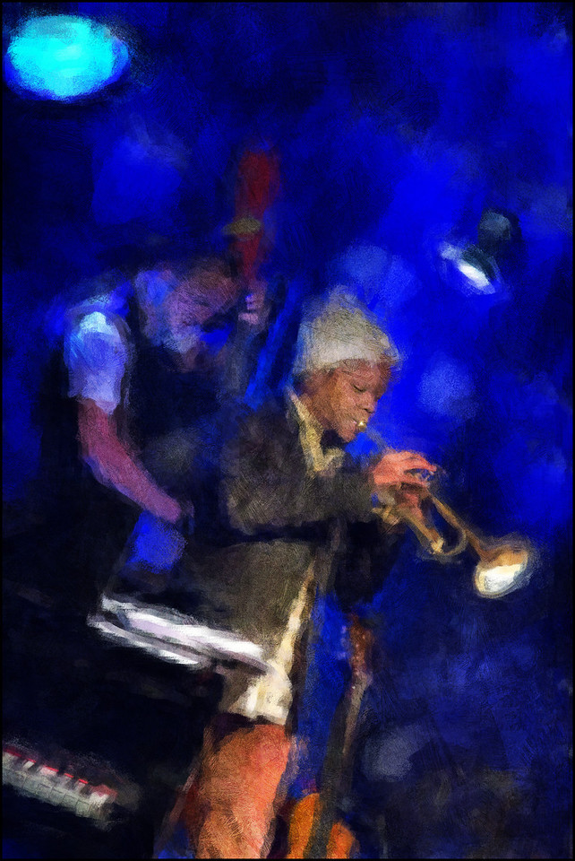 """Blue Note. Ambrose Akinmusire: trompet and Morten Ramsbøl: bass at <a href=""""http://www.paradisejazz.dk/""""target=""""_blank"""">Paradise Jazz</a>, Huset, Copenhagen. Photo painted with diigital impressionist chalk brush in Corel Painter + texture layers."""
