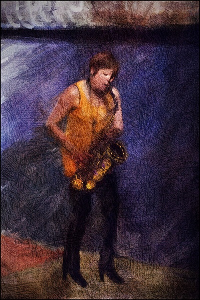 "Sax on the Heels. Maria Faust: sax at <a href=""http://www.paradisejazz.dk/""target=""_blank"">Paradise Jazz</a>, Huset, Copenhagen. Photo painted with digital sargent brush in Corel Painter + texture layers."