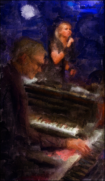 "Grand Piano. Jørgen Emborg: piano/keyboard and Malene Mortensen: vocal at <a href=""http://www.paradisejazz.dk/""target=""_blank"">Paradise Jazz</a>, Huset, Copenhagen. Photo painted with impressionist sargent brush in Corel Painter + texture layers."