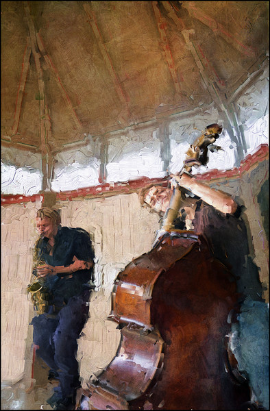 Timber Jazz.<br /> Johannes Vahl: bass and Jakob Lundbak: sax in the old timber dance pavillion at Karens Minde Kulturhus during the 2011 Copenhagen Jazz Festival.<br /> Composite photo painted with diigtal impasto oil brush in Corel Painter + texture layers.