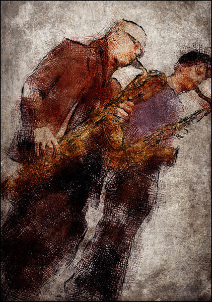 Saxxxx.<br /> Sture Erigsson and Lars Greve: sax at Jazz House, Copenhagen.<br /> Photo painted with digital pen in PostworkShop + texture layers.