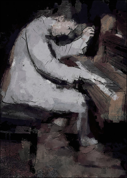 Rag.<br /> Kristian Jørgensen:piano of Kristian`s Ragtime Band at Kulturcentret Assistents, the 2013 Copenhagen Jazz Festival.<br /> Photo painted with digital chalk brush in PostworkShop + texture layer.
