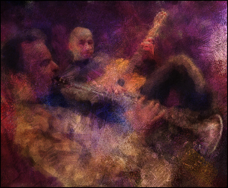 Air,Air.<br /> Guest guitar and clarinet at the Django Reinhard Jam in Christianshavns Beboerhus, Copenhagen.<br /> Photo painted with digital impressionist chalk brush in Corel Painter + texture layers..