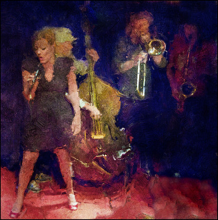 Light to Dark.<br /> LoneHugo Band: Lone Selmer: vocal - Hugo Rasmussen: bass - Mads Hyhme: trombone - Jacob Dinesen: sax at Paradise Jazz, Huset, Copenhagen.<br /> Photo painted with impasto oil brush in Corel Painter + texture layers.