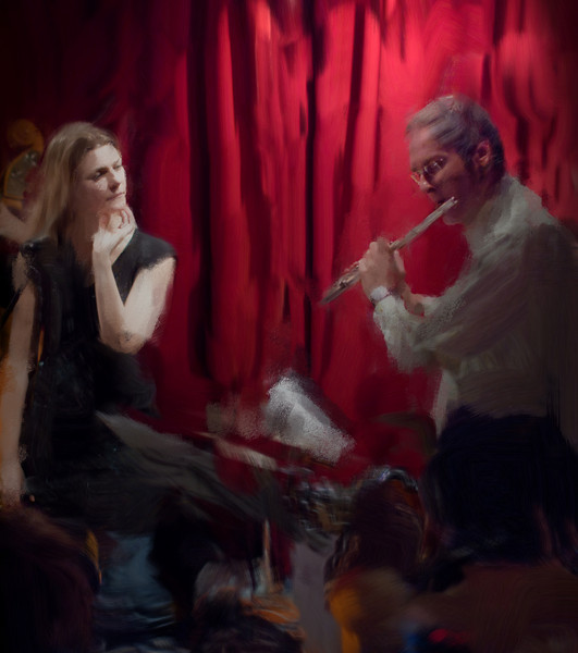 """Wonder.<br /> Britt Hein vocal and Jens Erik Raasted flute at """"Jazz Cup"""", Copenhagen, Denmark.<br /> Photo painted with smeary oil brush in Corel Painter."""