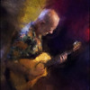 "Yellow Ray. Allan Rasch: guitar of <a href=""http://jazzabrasil.dk/""target=""_blank"">Jazzabrail</a> at <a href=""http://bartofcafe.dk/""target=""_blank"">Bartof Cafe</a>, Copenhagen. Photo painted with diigtal impressionist chalk in Corel Painter + texture layers."