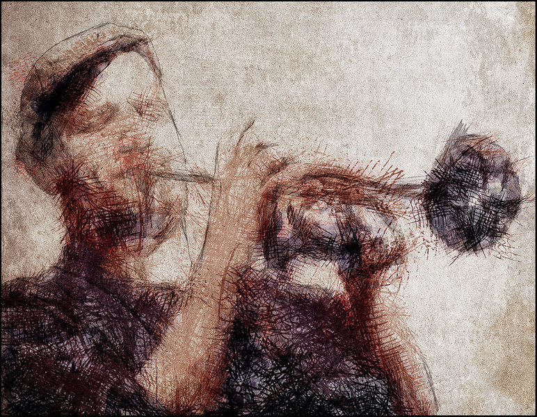 Trumpet Scratch.<br /> Tobias Wiklund: trumpet at Jazz House, Copenhagen.<br /> Photo painted with digital charcoal and pen in PosteWorkshop + texture layers.
