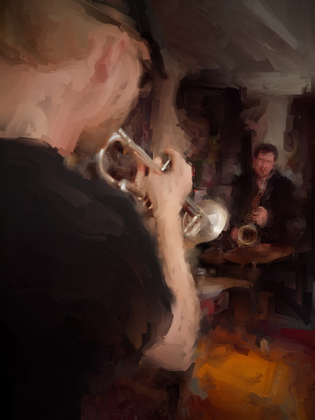 "Contra.<br /> Lakris Band: Rasmus ""Termo"" Lundsgaard: trumpet - Kalle Krüger: sax at Ingolfs Kaffebar Copenhagen.<br /> Photo painted with digital chalk brush in Corel Painter + texture layer."