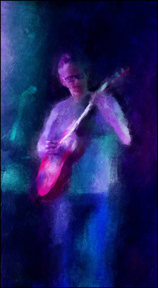 Playing the Lights.<br /> Tao Højgaard: guitar at Islands Brygges Kulturhus, Copenhagen.<br /> Photo painted with digital impressionist chalk brush in Corel Painter + texture layers.