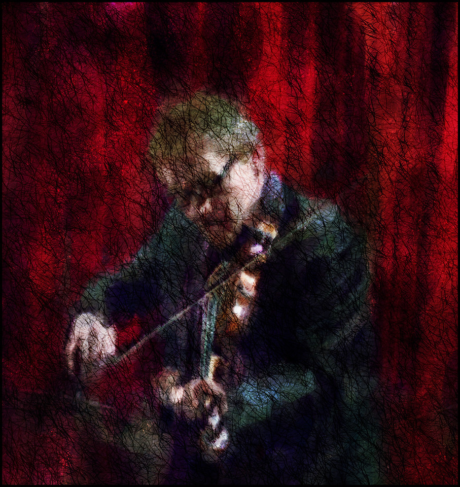 The Fiddler.<br /> Harald Haugaard: violin at Jazz Cup, Copenhagen, Denmark.<br /> Photo painted with digital squiggle pen and watercolor + texture layers in Corel Painter.