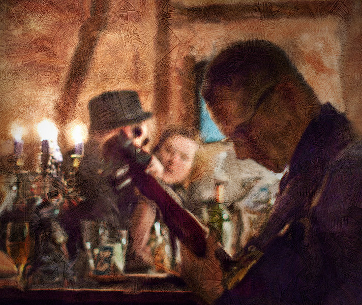 "Guitar Joint.<br /> Tao Højgarrd: guitar at ""Kind of Blue Bar"", Copenhagen.<br /> Photo painted with digital smeary oil brush in Corel Painter + texture layers.."