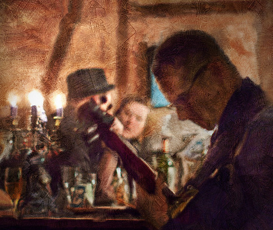 """Guitar Joint.<br /> Tao Højgarrd: guitar at """"Kind of Blue Bar"""", Copenhagen.<br /> Photo painted with digital smeary oil brush in Corel Painter + texture layers.."""