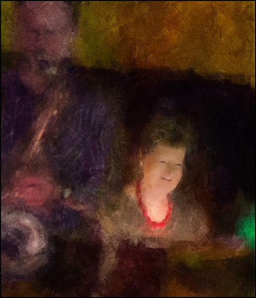 Inge Andersen<br /> Inge Andersen: piano at open session in Hvide Lam, Copenhagen.<br /> Photo painted with digital impressionist chalk brush in Corel Painter + texture layer.