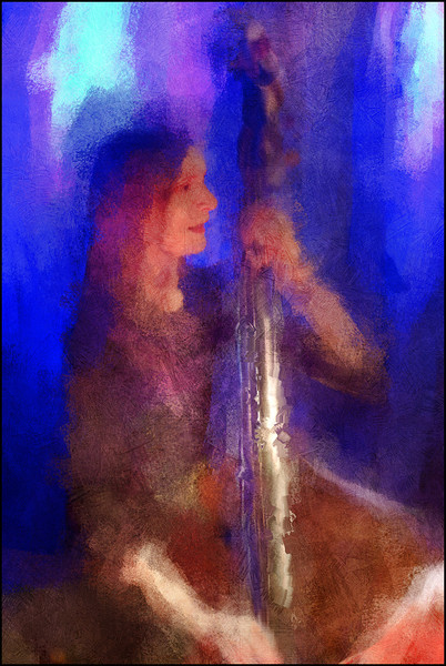 Bass Flash.<br /> Anne Mette Iversen: bass of Anne Mette Iversen Quartet at Paradise Jazz Club, Copenhagen.<br /> Photo painted with digital impressionist chalk brush in Corel Painter + texture layers.