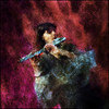 Cross Flute.<br /> Mariane Bitran, flute at JazzCup, Copenhagen.<br /> Photo painted with digital watercolor brush in Corel Painter + texture layers.