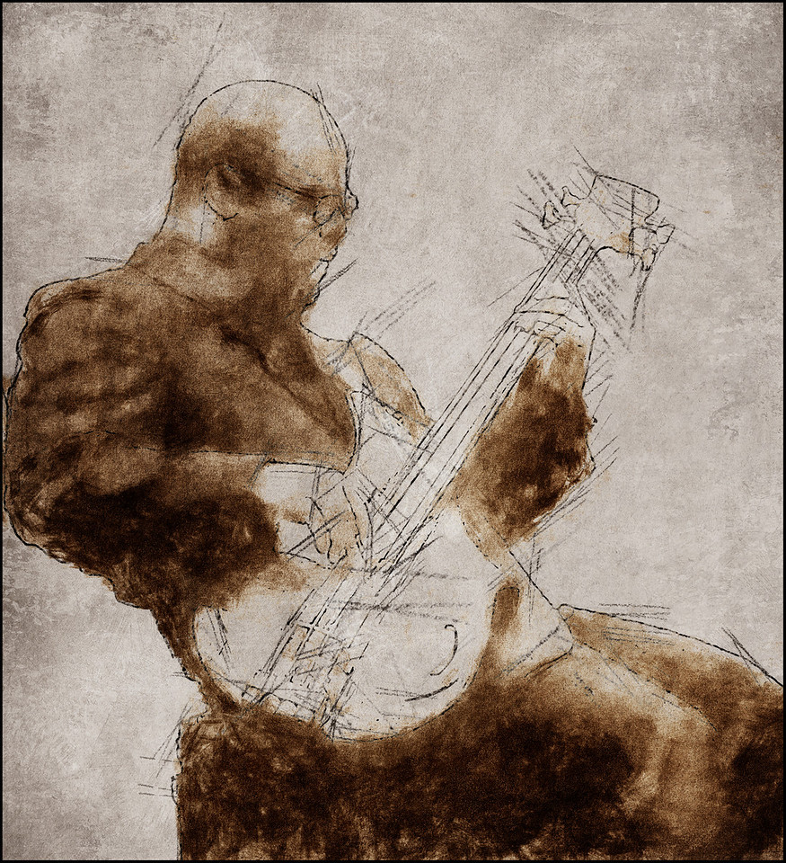 Lean Bass.<br /> Tarus Mateen of Band Wagon: bass at Jazzhouse, Copenhagen.<br /> Photo painted with digital pen and ink in PostworkShop + texture layers.