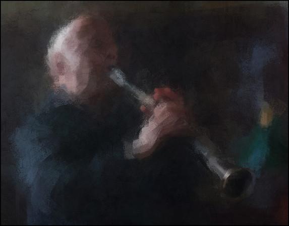Jørgen Svare: clarinet at Palæ Bar, Copenhagen.<br /> Photo painted with digital impressionist chalk brush in Corel Painter + texture layer.
