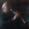 Jørgen Svare: clarinet at Palæ Bar, Copenhagen.<br /> Photo painted with digital impressionist chalk brush in Corel Painter + texture layer.
