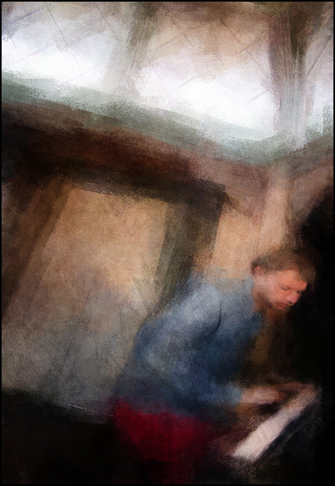 Sky Light.<br /> Christian Balvig of Andromeda: piano at Dansepavilionen, Karens Minde Kulturhus; Copenhagen.<br /> Photo painted with digital impressionist chalk brush in Corel Painter + texture layers.